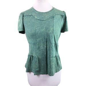 Anthropologie Deletta Sz XS Green Acid wash top